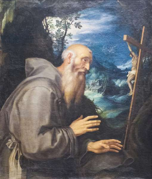 A Holy Hermit (oil on canvas)