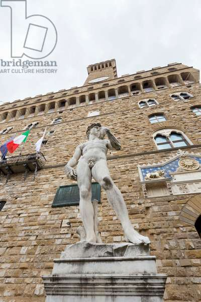 Copy of Michelangelo's David statue at Palazzo Vecchio overlooking Piazza della Signoria, Florence, Italy