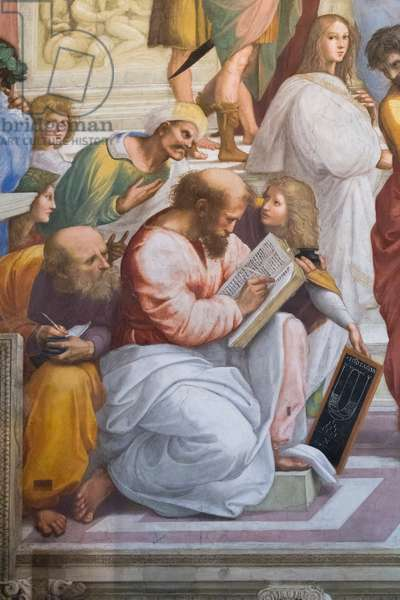 The School of Athens, detail of Pythagoras and his students,  Stanza della Segnatura, 1510-11 (fresco)