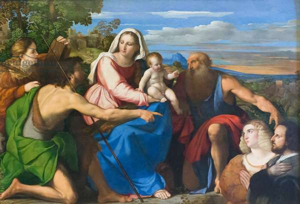 Sacred conversation with donors, 1525 circa, Jacopo Negretti known as Palma il vecchio (oil on panel)