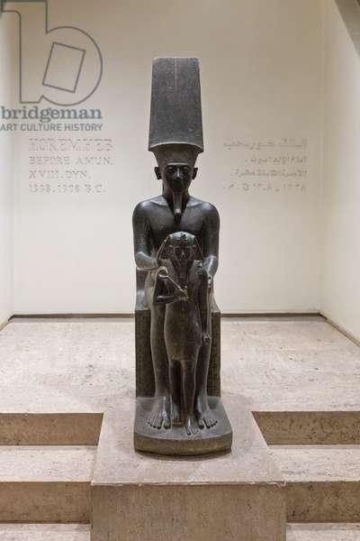 Horemheb before Amun, 1338-1308 BC, Luxor statue cache (stone)