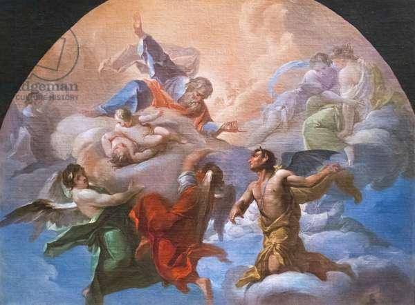 Satan before God, c.1750 (oil on canvas)