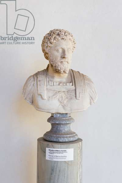 Portrait of Marcus Aurelius on an extraneous bust, 175-180 AD, marble, National Roman Museum at the Baths of Diocletian, Rome, Italy