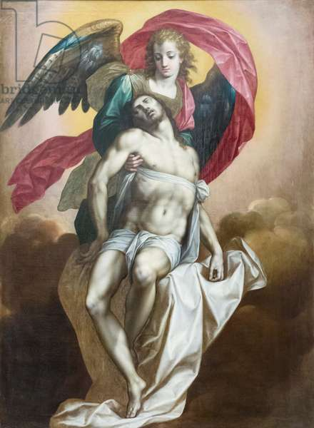 Dead Christ sustained by an angel, 16th century, (oil on canvas)