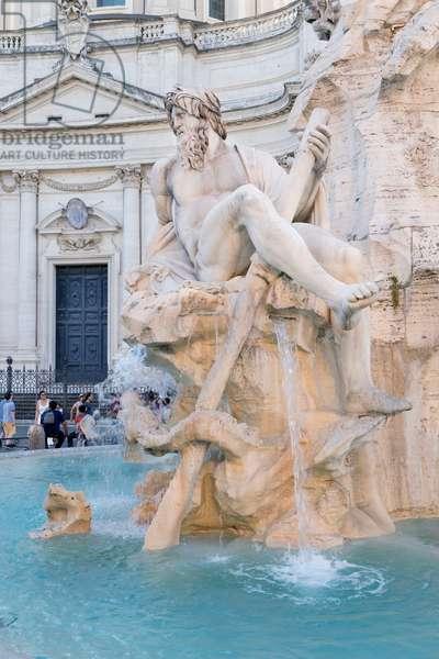 Detail from Bernini's Four Rivers fountain, fontana dei Quattro Fiumi, Piazza Navona, Rome, Italy (photo)
