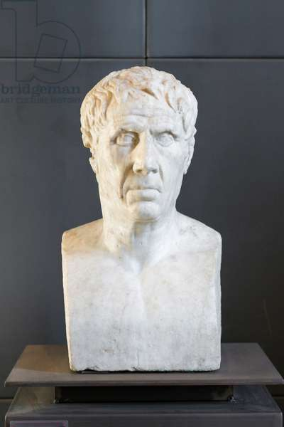 Male portrait-herm, identifiable with Virgil, Theocritus or Ariarthes III of Cappadocia (marble)