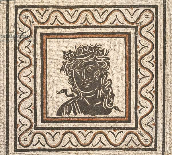 Floor mosaic with the image of a season in the centre, third century AD, national museum of Rome (museo nazionale romano), Rome, Italy