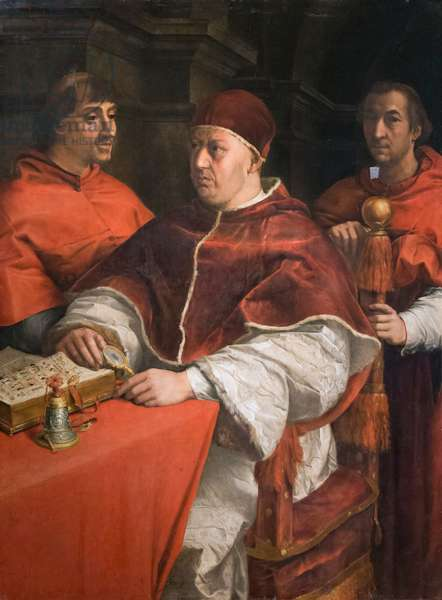 Portrait of pope Leone X with two cardinals, 1525, Andrea del Sarto, after Raphael (oil on panel)