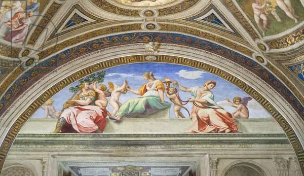 Cardinal and theological virtues, 1511, Raphael, 1483-1520, room of the signature, Raphael rooms, fresco, Vatican museums, Rome, Italy