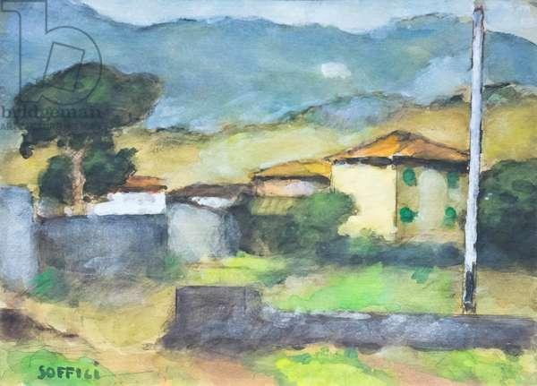 Poggio a Caiano, 1962, Ardengo Soffici (watercolour on paper)