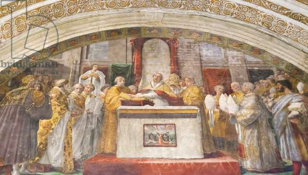 The oath of Leo III, 1516-1517, Raphael, 1483-1520, fresco,  room of the fire in the borgo ,Raphael's rooms, vatican museums, Rome, Italy