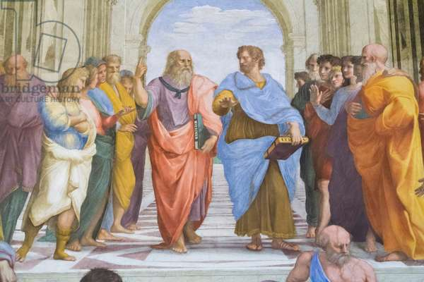 Aristotle and Plato: detail from the School of Athens in the Stanza della Segnatura, 1510-11 (fresco)