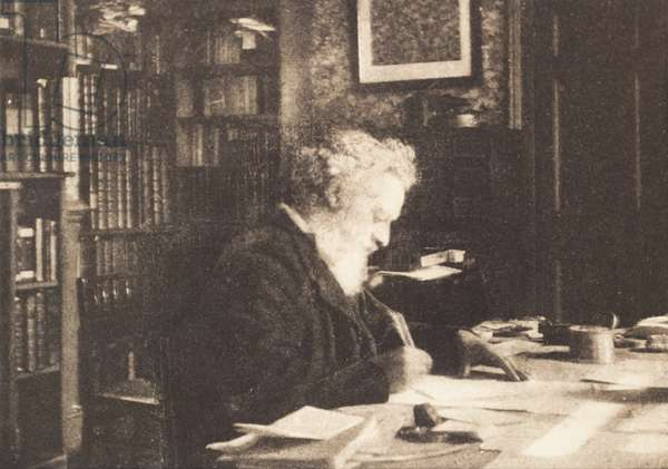William Morris in his library at Kelmscott House, Hammersmith, 1890s (b/w photo)