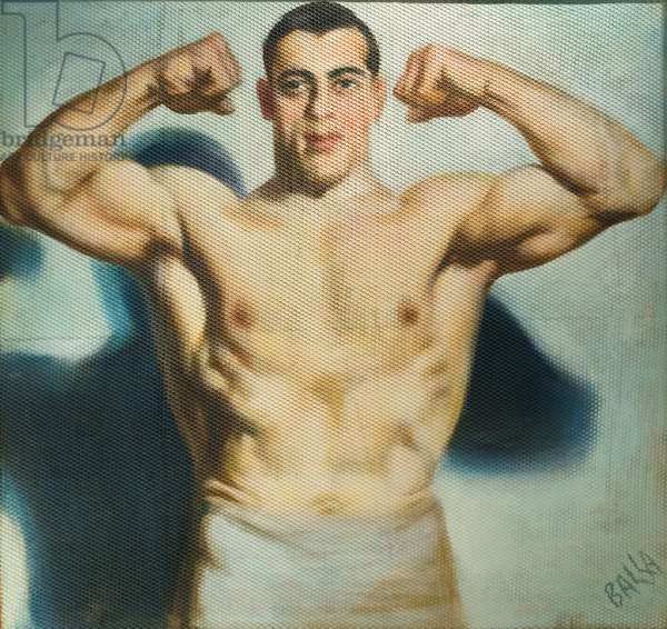 Primo Carnera, World Champion, 1933 (oil on panel with mesh)