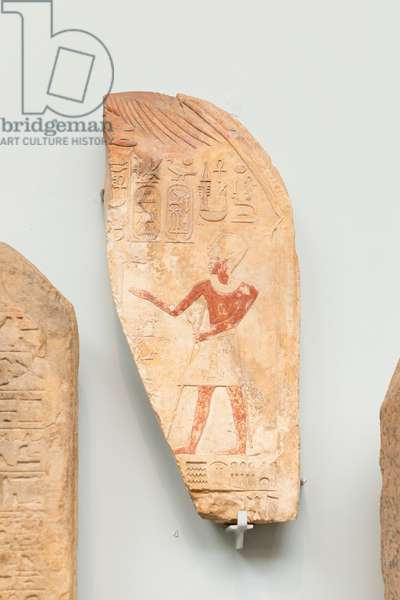 Part of a painted limestone stela with pharaoh Thutmose III, about 1470 BC