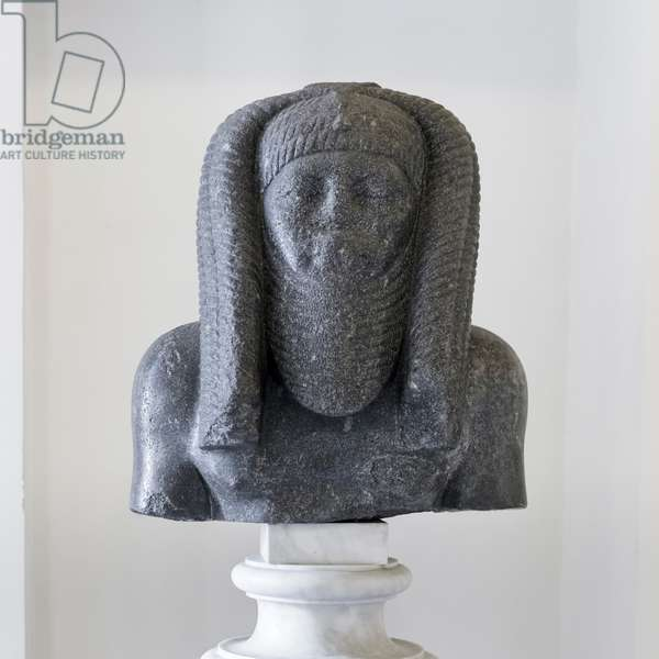 Bust of Pharaoh Amenemhet III, Buoncompagni Ludovisi collection, grey granite, National Roman Museum, Palazzo Altemps, Rome, Italy