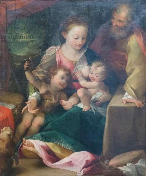 Holy family and saint John the baptist, 16th century (oil on canvas)