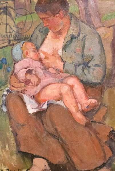 Motherhood (Maternità), 1916-17, Umberto Moggioli (oil on cardboard)