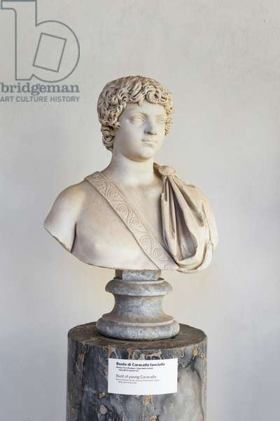 Bust of young Caracalla, 3rd century AD, marble, National Roman Museum at the Baths of Diocletian, Rome, Italy