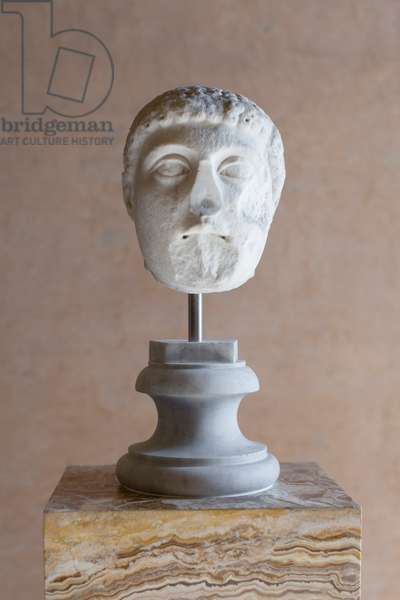 Head of Harmodius, Mattei collection, medium grained crystalline marble, National Roman Museum, Palazzo Altemps, Rome, Italy