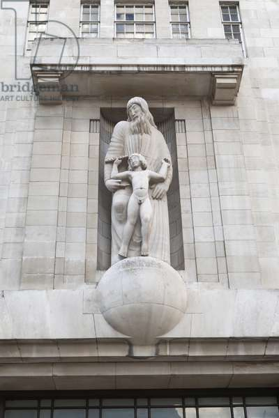 Eric Gill relief of Prospero and Ariel on the outside of BBC Broadcasting House in Portland Place, London, UK