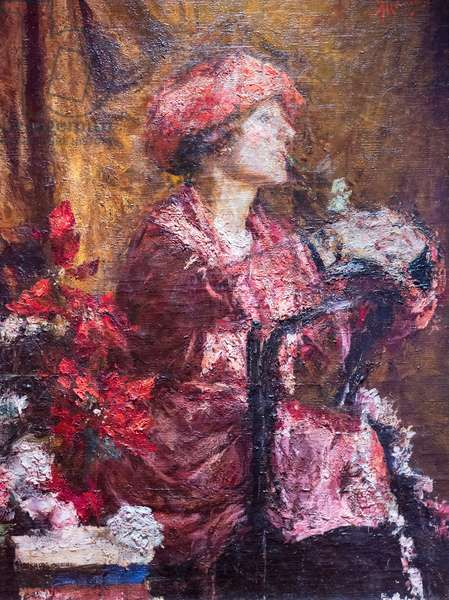 Enrica in purple, 1920, (oil on canvas)