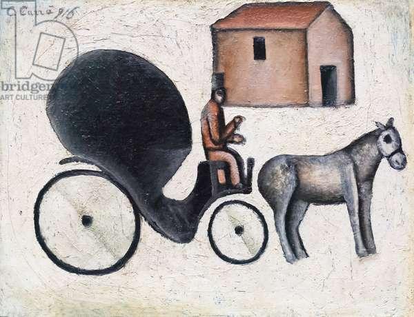The wheelchair, la carrozzella, 1916, Carlo Carra' (oil on canvas)