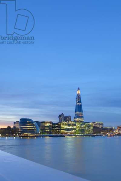 The Shard and More London development on the South Bank at night, London England