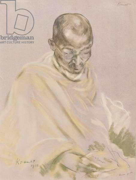 Mahatma Gandhi, 1932, (chromolitograph)