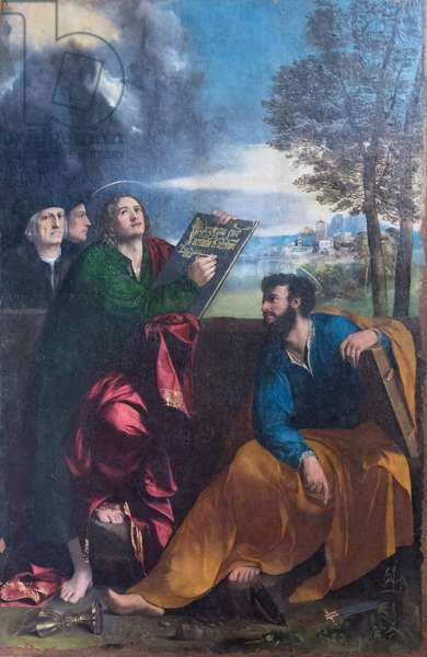 Saint John the evangelist and Saint Bartholomew with Pontichino della Sale and a member of his family, 1527 (oil on panel)