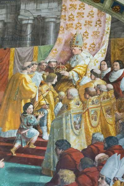 The coronation of Charlemagne, detail, 1511 (fresco) (detail of 3362155)