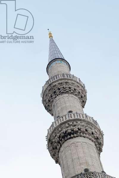 Blue mosque minaret, Sultanahmet, Istanbul, Turkey