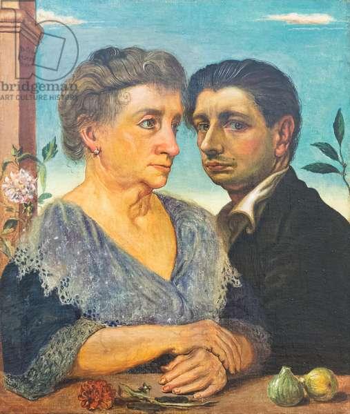 Self portrait with the mother, autoritratto con la madre, 1921, Giorgio de Chirico (oil on canvas)