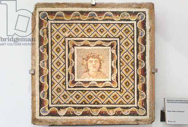 Floor mosaic with the image of Dionysius in the centre, third century AD, national museum of Rome (museo nazionale romano), Rome, Italy
