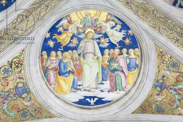 Christ as sol iustitiae, 1508, Pietro Vannucci, called the Perugino, fresco, ceiling of the  room of the fire in the borgo ,Raphael's rooms, vatican museums, Rome, Italy