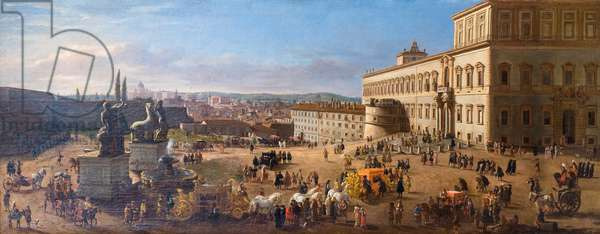 View of Rome from Quirinal square, 1684 (oil on canvas)