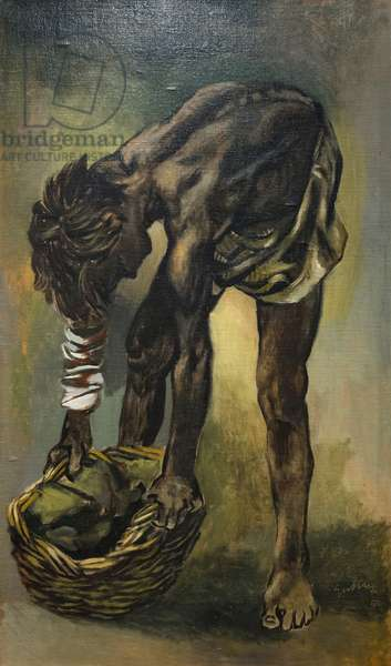 Injured child sulphur miner, 1952 (oil on paper applied to canvas)