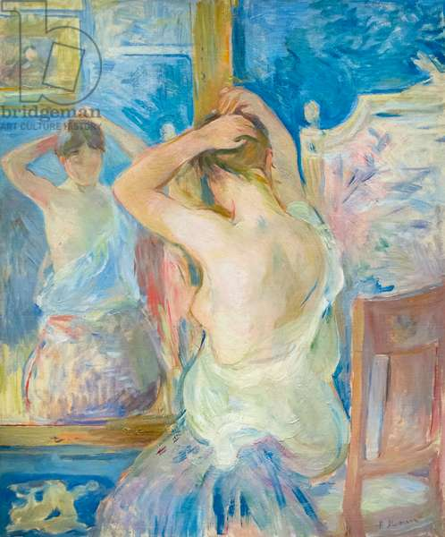 In front of the mirror, c. 1890 (oil on canvas)