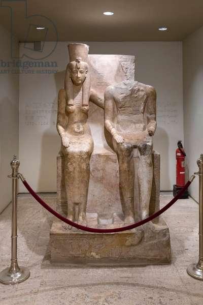 Amun and Mut, 1290-1224 BC, Luxor statue cache (stone)
