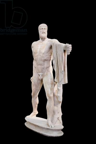 Tyrannicide group, Aristogeiton,  roman copy of the Athenian version by Kritios and Nesiotes (marble)