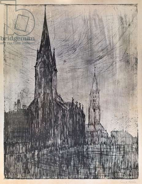 Die Petri und Jacobikirche in Hamburg, 1910 (drypoint and aquatint)