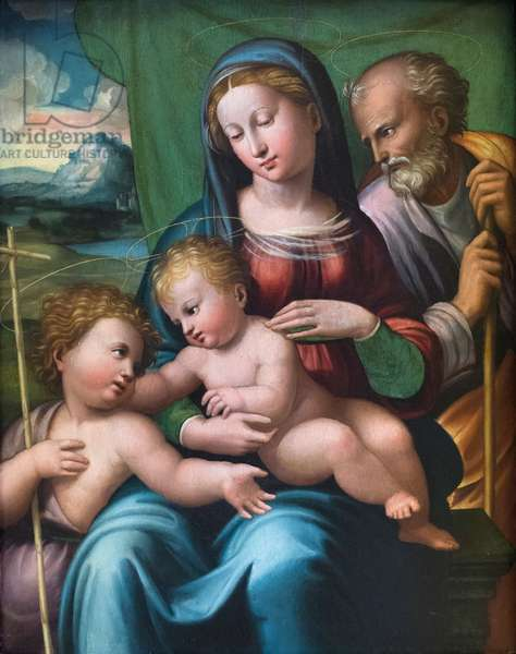 Holy family with a young saint John the Baptist, 16th century (oil on panel)