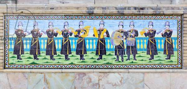 Tilework musicians at Shams ol Emareh or the edifice of the sun, Golestan palace, Tehran, Iran (photo)