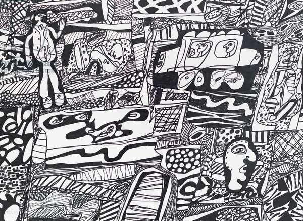 Memoration XXIII, 1979, (black felt pen on paper with collage)