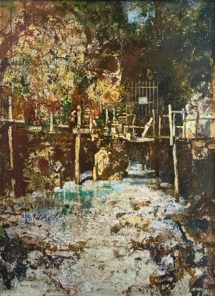 Ingresso alla cascata del Ponale, 1900, (oil on canvas)