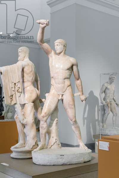 Tyrannicide group, Harmodius, roman copy of the Athenian version by Kritios and Nesiotes (marble)