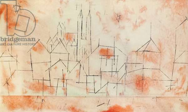 City with Gothic Cathedral, 1925 (drawing)