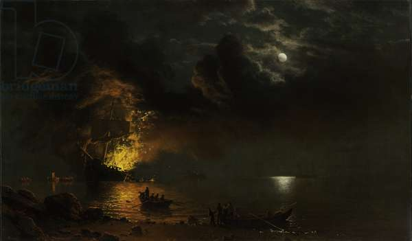 The Burning Ship, 1869 (oil on canvas)