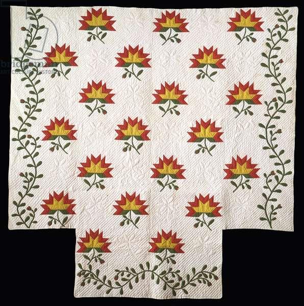Applique and Pieced Cactus Rose Quilt, 1850 (cotton)