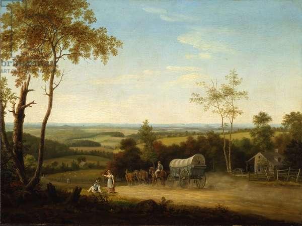 Conestoga Wagon on the Pennsylvania Turnpike, 1816 (oil on canvas)